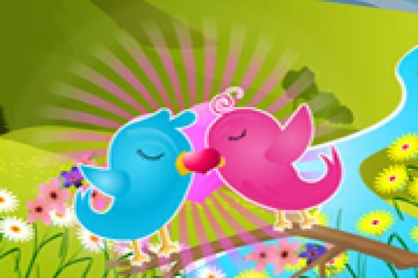Lovebirds Kiss Kiss