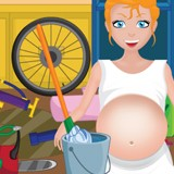 Pregnant mom cleaning the garage