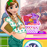 Pregnant Anna Washing Clothes